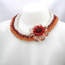"""Orange Red White Crystal Glass Beads Flower Collar Necklace 16"""""""