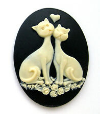 2 IVORY color LOVE CATS and ROSES on BLACK 40mm x 30mm Costume Jewelry CAMEOS