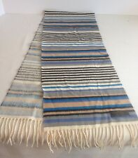 Cashmere Scarf Germany 100% Striped Hand Tailored Tan Black Blue Gray Fringe