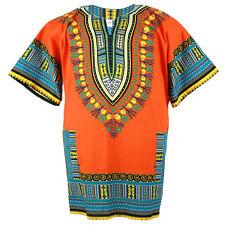 Plus Size African Dashiki Cotton Mexican Hippie Tribal Boho Shirt Orange ad18o