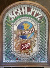 VINTAGE 1977 86521 SCHLITZ Beer Stained Glass Style Bar Sign Light Globe