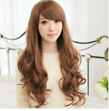Light Brown With Bangs Long Curly Wave Full wigs Synthetic For Woman Party