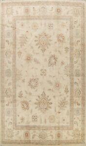 Vegetable Dye Geometric Floral Peshawar Ivory Handmade Oriental Area Rug 10'x14'