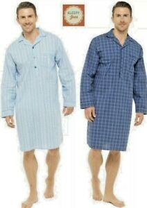 Sleepy Joes Mens Cotton Lightweight Poplin Nightshirt Nightwear