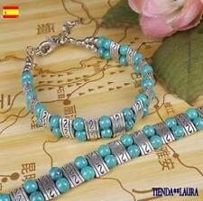 pulsera mujer bolitas azul turquesa plata tibetana 17.5 cm mas 4 cm extension