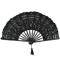 Handmade Cotton Lace Folding Hand Fan for Party Bridal Wedding Decoration (Black