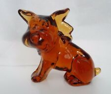 "3"" Vintage Imperial Glass BULLDOG Type  Parlour PUP Figurine Paperweight Amber"