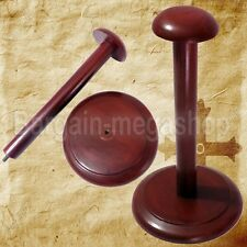 Wooden Helmet Stand Display Post for Medieval Helmets - Foldable Wood Stand