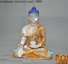 "9""Tibet crystal silver Filigree turquoise gem Shakyamuni Medicine Buddha statue"