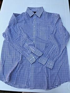 M&S Marks & Spencer Checked Longsleeved Dress Shirt Easy Care Tailoring Sz 41/16