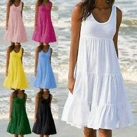 Plus Size Women Holiday Summer Sleeveless Party Beach Loose Short Dress Sundress