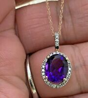 """Ema Jewelry Amethyst & Diamond Pendant Necklace in 10k Solid Rose Gold 18 """"in"""