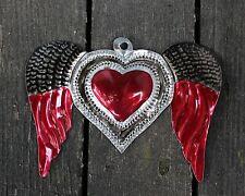 Love Token Stamped Tin Milagro Winged Heart Oaxaca Mexico Hand Made Folk Art