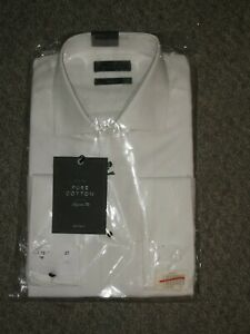 John Lewis Marcello Pointed Collar Tailored Fit Dress Shirt, White Size 16 41cm