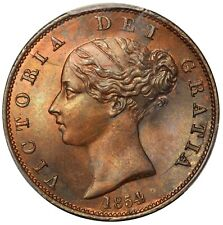1854 Great Britain 1/2 Half Penny Coin - PCGS MS 64 RB - KM# 726 - NICE TONING