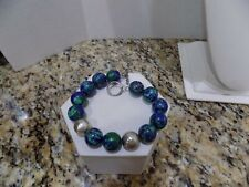"Azurite Malachite Lapis Sterling Silver Beaded Bracelet Toggle 9"""