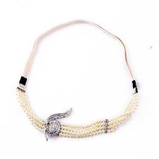 Epingle Elastique à Cheveux Argenté Perle Multirang Epoque Vintage Original
