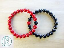 Couple Coral/Tourmaline Natural Gemstone Bracelet 7-8'' Elasticated Healing
