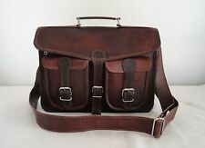 "Real Brown Leather 13"" Macbook Briefcase Attache Suitcase Satchel Eco-Friendly"