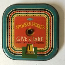 VINTAGE 1950s METTOY SPINNER WINNER GIVE & TAKE FAMILY GAME ~TINPLATE ~ 1950s