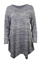 NEW ex Evans Grey Blue Marl Swing Jersey Tunic Top Long Sleeve Size 14 - 30/32