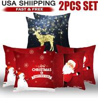 "2pcs 18 x 18"" Christmas Throw Pillow Covers Cases Pillowcase Sofa Snowman Santa"