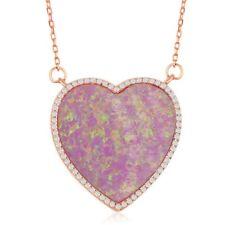 Plata De Ley Chapado en Oro Rosa Ópalo Rosa Corazón con Collar de borde de circonio cúbico