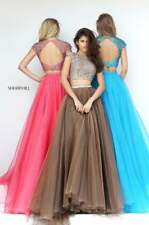 Sherri Hill 50561 Light Brown Stunning Crop Top Ball Gown Dress sz 12