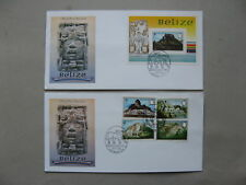 BELIZE, 2x cover FDC 1983, set + S/S  temple ruins