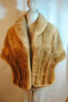 Vintage MINK Fur Stole Cape Coat Beautiful Honey Brown