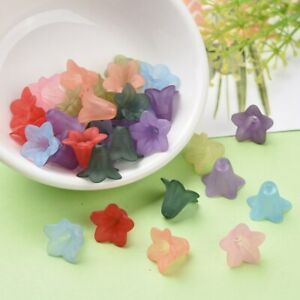 50+ Frosted Transparent Color Mix Acrylic Flower Bead Jewelry Craft 16x12mm USA