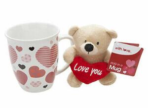 Bear Hug In A Mug Plush Teddy With Loveheart (Love You)