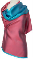 Wendeschal Türkis Rosa Schal 100% Seide silk soie scarf écharpe scarpia
