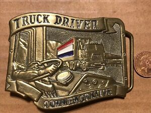 bBb Baron buckles 1984 Solid brass .Track Driver Commemorative belt buckle