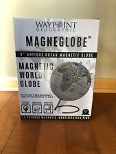 """NEW IN BOX Waypoint Geographic 9"""" Antique Ocean Magnetic Globe WP50100 WORLD"""