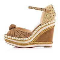 NIB Christian Louboutin Madcarina 120 Brown Suede Gold Stud Wedge Sandal Heel 35