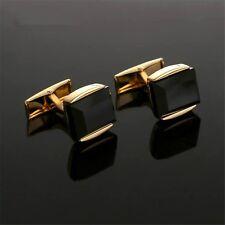 Classical Square Black Faux Agate Cuff Links Gold Plated Mens Dress Cufflinks