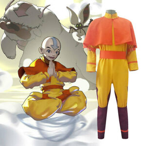 Avatar The Last Airbender Aang Full Set Halloween Cosplay Costume Outfit Set·