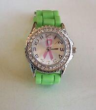 Geneva Pink Ribbon Breast Cancer Awareness Small Silicone Rhinestone Watch