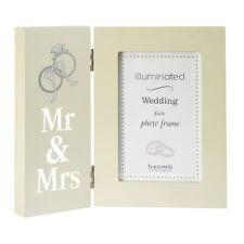 éclairé MR&MRS MARIAGE CADRE PHOTO 6X4 – allumer IMAGE cadeau crème cadeau