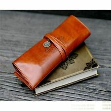 Roll Brush Voguish Pencil Up Pouch Leather Brown 1Pc Case Bag Cosmetic Purse