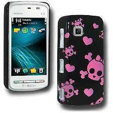 Cute Skulls & Hearts Click On Case for Nokia Nuron 5230 - Black Pink
