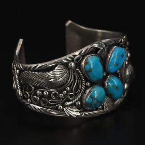 "VTG Sterling Silver - HEAVY NAVAJO Ornate Turquoise Cuff 7"" Bracelet - 83g"
