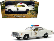 "1977 PLYMOUTH FURY CREAM ""HAZZARD COUNTY SHERIFF"" 1/24 DIECAST GREENLIGHT 84095"