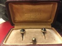ANTIQUE FACETED GOLD CUFFLINKS FINLAND JHPEKURI OULU 1926 IN ORIGINAL BOX UNISEX