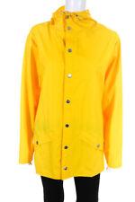Rains Womens Hooded Snap Front Long Rain Jacket Yellow Size XXS/XS