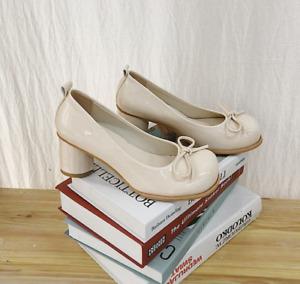 Women Pump Bowknot Chunky High Heels Round Toe Mary Jane Retro Fashion Lady Shoe