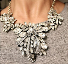 new design women bib statement bling multi crystal mixed floral necklace collar