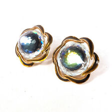 Vintage Designer Signed Vendome Amazing Sparkly Crystal Clip On Earrings 1.25""