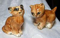 Vintage Pair Of Orange Tabby Cat Kitten Figurines Hand Painted By Seymour Mann